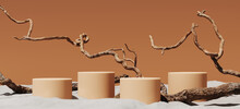 Minimal Mockup Background For Product Presentation. Podium And Dry Tree Twigs Branch With White Sand Beach On Brown Background. 3d Rendering Illustration. Clipping Path Of Each Element Included.