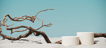 Minimal Mockup Background For Product Presentation. Podium And Dry Tree Twigs Branch With White Sand Beach On Blue Background. 3d Rendering Illustration. Clipping Path Of Each Element Included.
