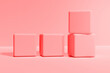 Squares on a red background. Abstract geometric colored background. Minimal geometric composition. 3D rendering