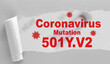 canvas print picture - 501Y.V2 mutated Coronavirus from South Africa - Konzept