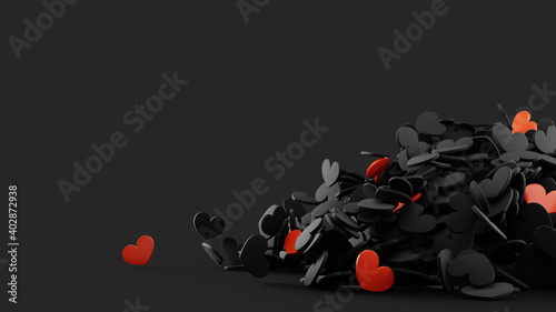 Heap from many falling small black and red hearts. Valentine day design concept. Love background. 3D rendered image.