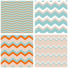 Tile Vector Pattern Set With Zig Zag Background