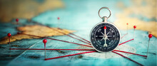 Magnetic Compass  And Location Marking With A Pin On Routes On World Map. Adventure, Discovery, Navigation, Communication, Logistics, Geography And Travel Theme Concept Background.. Macro Photo.