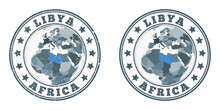 Libya Round Logos. Circular Badges Of Country With Map Of Libya In World Context. Plain And Textured Country Stamps. Vector Illustration.