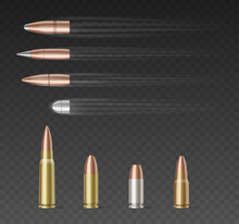 Set Of Bullets Of Different Caliber Over Transparent Background. 3d Realistic Bullets Collection.