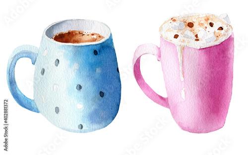 Fotografie, Obraz Watercolor illustration set of cups with delicious coffee cappuccino