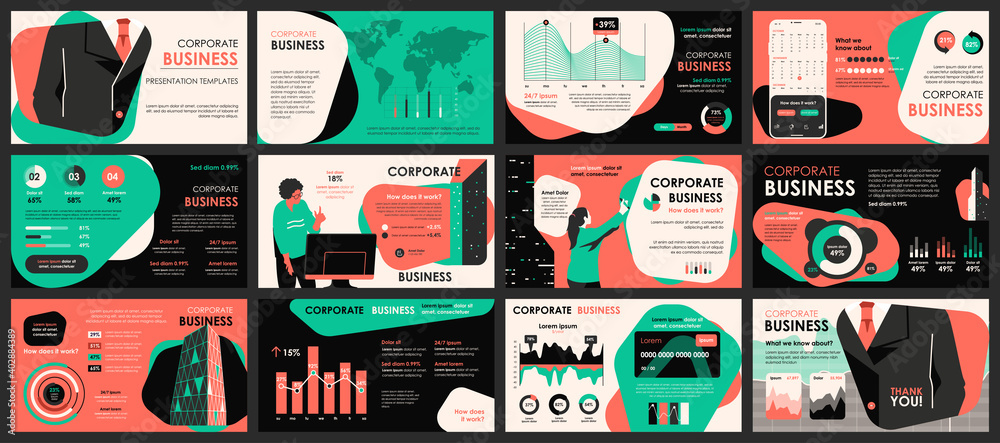 Fototapeta Business meeting presentation slides templates from infographic elements and vector illustration. Can be used for presentation teamwork, brochure, marketing, annual report, banner, booklet.