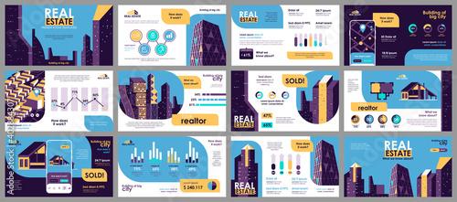 Obraz na plátne Real estate presentation slides templates from infographic elements and vector illustration