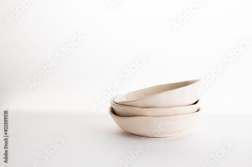 mockup of beautiful handmade ceramic on white background Fototapeta