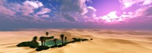 Desert Oasis At Sunset, Beautiful Sunset In The Sand Desert, Sunset In The Dunes, Oasis In The Dunes At Sunset, 3D Rendering