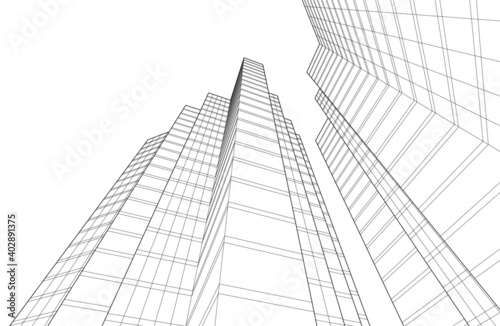 Photo modern architectural building project 3d