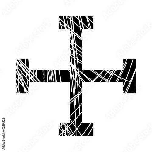 Tableau sur Toile vector illustration of black cross isolated on white