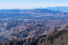 Aerial View Towards Sylmar And Pacoima In The San Fernando Valley Area Of Los Angeles California.