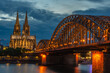 Cologne Cathedral and Hohenzollern Bridge at twilight, Germany