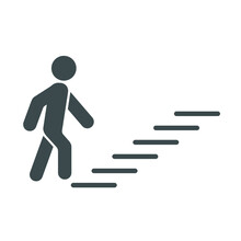 Man Climbing Stairs Icon.  Flat Vector Sign Isolated On White Background. Simple Vector Illustration For Graphic And Web Design.
