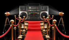 Podium With Boombox, 3D Rendering