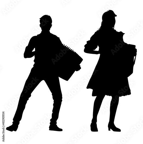 Fototapeta accordionist silhouette vector