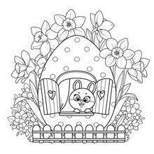 Cute Cartoon Little Rabbit Looks Out The Window In An Easter Egg House Surrounded By Flowers Outlined On White Background