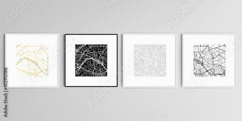 Fototapeta Realistic vector set of square picture frames isolated on gray background with urban city map of Paris. obraz