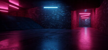 Cyber Sci Fi Neon Fluorescent Club House Laser Electric Grunge Brick Walled Cement Concrete Grunge Purple Blue Vibrant Hangar Room Studio Space Realistic Background 3D Rendering