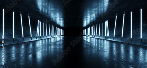 Neon Sci Fi Futuristic Neon Fluorescent Blue White Tube Lights Glowing Cyber Tunnel Corridor Grunge Glossy Concrete Cement Room Studio Showcase Laser Electric Dark Background 3D Rendering