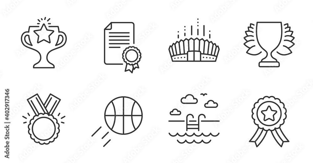 Fototapeta Winner ribbon, Basketball and Winner line icons set. Arena stadium, Certificate and Honor signs. Victory, Swimming pool symbols. Best award, Sport ball, Sports achievement. Sports set. Vector