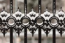 Wrought Iron Gate Covered With Snow