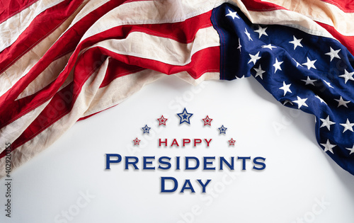 Fotografija Happy presidents day concept with flag of the United States on white background