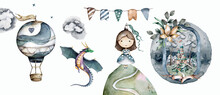 Princess And Flying Dragon, Air Balloon. Kid Watercolor Adventure Set Isolated Cartoon Scandinavian Illustration On White Background