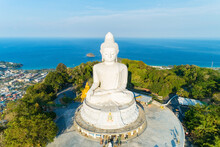 Vesak Day Background Concept Of Big Buddha Over High Mountain In Phuket Thailand Aerial View Drone Camera Shoot Amazing High Angle View