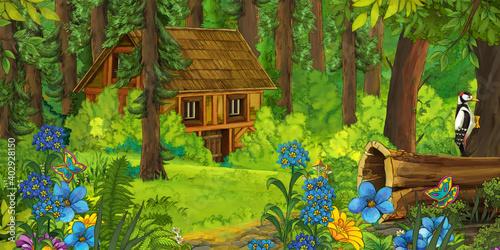 Fotografiet cartoon scene with farmer near the wooden farm in the forest - illustration