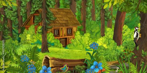 Canvastavla cartoon scene with farmer near the wooden farm in the forest - illustration