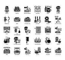 Set Of BBQ And Grill Party Thin Line And Pixel Perfect Icons For Any Web And App Project.