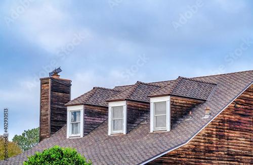 Billede på lærred Dormer windows on gray roof of house with chimney in San Diego California