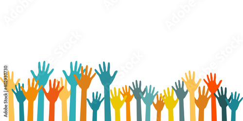 Billede på lærred Colorful raised hands group art therapy vector illustration.