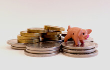 One Miniature Pink Pig Standing On A Pile Of Silver And Golden Coins. Close Up And Isolated On A White Background. Stockholm, Sweden.