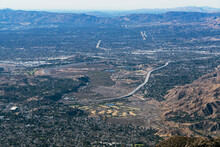 Aerial View Towards Hansen Dam, Lakeview Terrace, Pacoima And Mission Hills In The San Fernando Valley Area Of Los Angeles California.