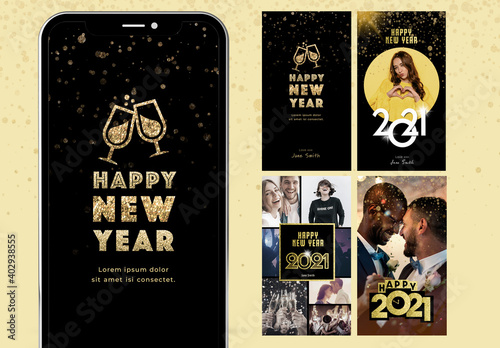 Obraz Happy New Year Digital Card Layout Kit - fototapety do salonu