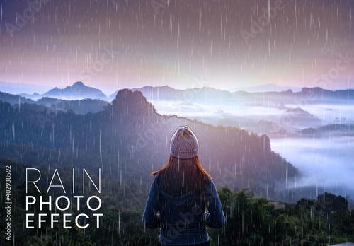 Obraz Winter Rain Photo Effect Mockup - fototapety do salonu