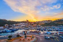 Watch The Sunset Over Gozo Island Coast, Ghajnsielem, Malta
