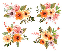 Watercolor Yellow Florals And Peonies Vector Element