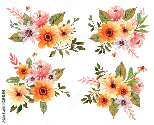 Obraz na plátne Watercolor Yellow Florals and Peonies Vector Element