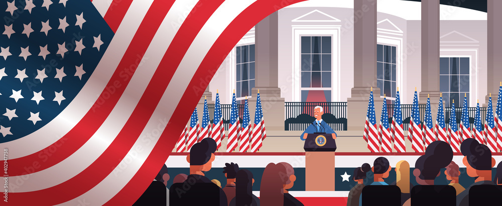 Fototapeta president democrat winner of United States presidential election man giving speech from tribune USA inauguration day concept horizontal portrait vector illustration