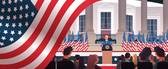 president democrat winner of United States presidential election man giving speech from tribune USA inauguration day concept horizontal portrait vector illustration