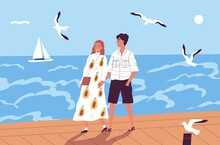 Happy Couple Walking On Waterfront Holding Hands Vector Flat Illustration. Enamored Man And Woman On A Romantic Date At Seashore. People Spending Time Together At Summer Vacation