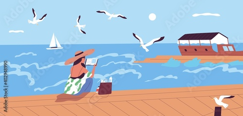 Photo Woman reading book at waterfront alone vector flat illustration