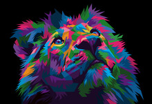 Colorful Lion Head On Pop Art Style Isolated With Black Backround