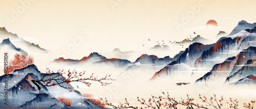 Leinwand Poster Mountain peaks full of plum blossoms, ancient oriental paintings, and oriental classical paintings of Asia
