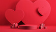 Leinwandbild Motiv Minimal podium product background for Valentine, Red heart and gift box with ribbon bow on red background. 3d render.