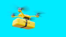 Yellow Drone Delivery Delivering Document Bag. Autonomous Logistic Concept, 3D Render.